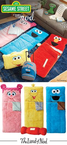 Featuring a soft, furry look inspired by classic characters, our Sesame Street sleeping bags make great slumber party guests. Invite Elmo, Cookie Monster, Big Bird and Abby Cadabby to your next sleepover.