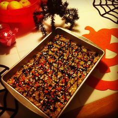Home made rice crispy treats with Halloween sprinkles and chocolate syrup:)  Yummy!!