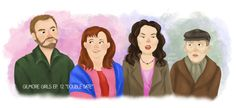 """Gilmore Girls Episode 12 """"Double Date""""  Sookie is just the cutest! She was so fun to draw. Also, how terrible is Rune? haha. Sarah Wright Art"""