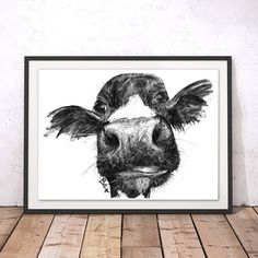 Cow Art Print Cow Wall Art Cow Charcoal Illustration Cow
