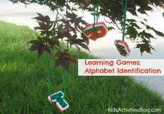 learning games: alphabet identification    hang letters, swat with flyswatter
