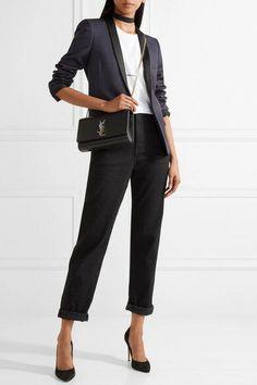 Authentic 2018 YSL Saint Laurent Kate Black Medium Bag With Silver Hardware for sale online Ysl Kate Bag, Ysl Bag, Lauren Kate, Saint Laurent Jeans, London Shopping, Work Wardrobe, Cloth Bags, Medium Bags, Black Media