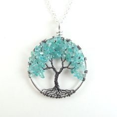 Mystic Beauty - Apatite, Wire Tree of Life Necklace- Black Gray Gunmetal, Silver, Teal, Aqua, Blue on Etsy, $32.00