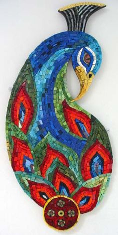 Peacock by Martin Cheek Smalti, Gold Leaf Smalti and hand made Ceramic Element 40cm x 86cm http://www.martincheekmosaics.com/html/peacocks.html