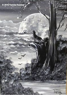 """Acrylic on Canvas"""" Code: Wolf - Black & White My YouTube Channel:  https://www.youtube.com/user/KoutrasArt"""