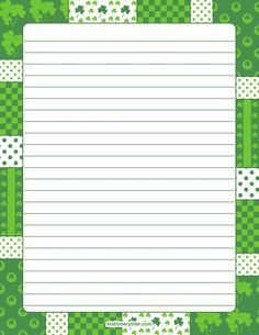 Printable shamrock stationery and writing paper. Multiple versions available with or without lines. Free PDF downloads at http://stationerytree.com/download/shamrock-stationery/