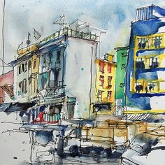 Final sketch in Singapore (till Saturday) I love how colorful this city is. Heading to Cambodia for a few days now.... #USkSingapore2015 | Flickr - Photo Sharing!