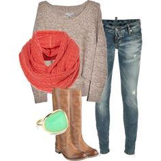 Slouchy sweater, scarf, distressed jeans, boots..........fav kind of outfit!!