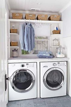 Hang clothes above w/d. Inexpensive with shelves and bins rather than cupboards