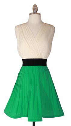 08cbb4c297 Morning White  amp  Green Block Mini Dress Vintage Classics