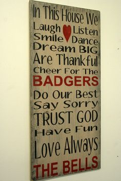 Family Rules Sign Wisconsin Badgers by RusticlyInspired on Etsy, $60.00