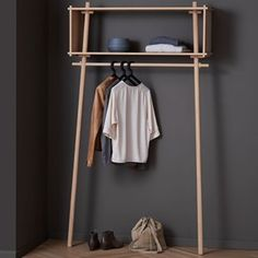 Buy wardrobe from Woud in the Garderobe von Woud im Shop kaufen The Töjbox by Woud is the perfect wardrobe for narrow corridors. In the bedroom, she is used as a clothes rail. With its practical shelf, it replaces an open wardrobe Buy Wardrobe, Open Wardrobe, Wardrobe Design, Perfect Wardrobe, Wardrobe Rack, Wardrobe Ideas, Banquette Design, Diy Furniture, Furniture Design
