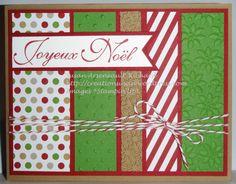 """Carte de Noël, Papier de la série Design """"Du style à revendre"""" de Stampin' Up! Une bonne façon d'utiliser les retailles de papier."""