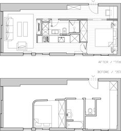 Plan d'un appartement de 40m2 refait par un architecte