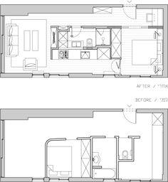 Plan d'un appartement de 40m2 refait par un architecte