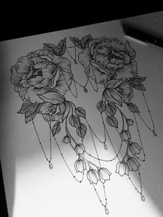 Lovely  Symmetrical Roses & Chains Design | Pretty Again Tattoo Concept... - Flowers by Dezdemon.com