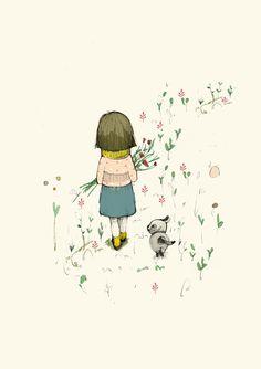 Children's wall Art, Nursery wall art, Girl with dog walking, Art Poster, Wall Art, Illustration, Wall Decor