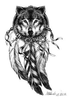 "wolf dream catcher tattoo. Instead of black and white I would use earth like tones and have the words ""Dare to dream Usti Waya"" and have the whole dream catcher as if it was attached by this leather string that went around just above my hips. Maybe."