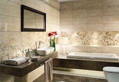 łazienka tapeta i płytki - Szukaj w Google