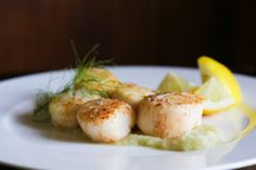 Pan Seared Scallops with Fennel Purée—searing not only keeps the ...