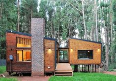 Wood Cabin in Dullstroom, Mpumalanga, South Africa. Modern Wooden House, Built In Braai, Tiny House Cabin, Tiny Houses, Wooden Decks, Small House Design, Stay The Night, Open Plan Kitchen, Lounge Areas