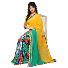 Fashionx Yellow Printed exclusive saree with lace border