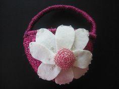 Flower Girl Basket Wedding Pink Ivory Daisy 70 custom daisy flower colors 3 basket colors by ArtisanFeltStudio, $25.00