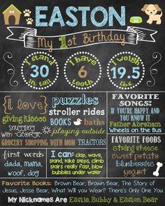 Puppy Birthday Chalkboard First Birthday by ChalkingItUpBoards