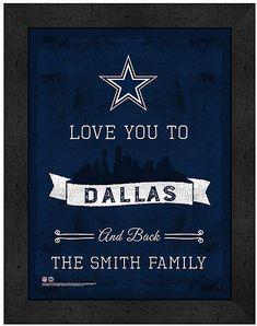 28266dab0f2 Dallas Cowboys 'Love You' Personalized Framed Print Cowboy Love, Dallas  Cowboys, Chalkboard