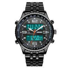 TTLIFE 1032 im Freien Männer Sportuhren Anzeige zweier Zeitzonen Armbanduhren Male 50m Wasserdicht (Schwarz) - http://uhr.haus/skmei-12/schwarz-ttlife-1032-im-freien-maenner-sportuhren