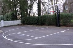 Residential driveway basketball courts, full or half courts multi-use. Outdoor Basketball Court, Outdoor Spaces, Window Trims, Exterior, Amazing, Ideas, Outdoor Living Spaces, Outdoor Rooms, Outdoor Rooms