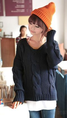 Exquisite Twist Pattern Dolman Sleeve Knitted Wear Sweater - BuyTrends.com
