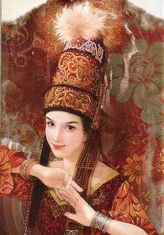 There are 56 ethnic groups in China that have been specifically recognized by the government. In this series, Taiwanese artist Chen Shu Fen (陈淑芬) has painted stunning portraits of women from each one in their traditional dress. This one here is of a Kazakh woman.