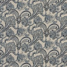 Navy, Blue, And Beige Floral Foliage Woven Outdoor Upholstery Fabric By The Yard