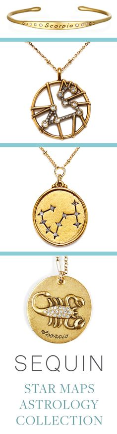 Scorpio Astrology Jewelry! Sequin's Star Maps Collection illustrates the twelve astrological signs with beautifully detailed interpretations of constellations and zodiac symbols. Each is 22K antique gold- rose-gold or silver-dipped and cast from an original Sequin illustration. Designed & handcrafted in the USA with components from around the world. #ScorpioSeason