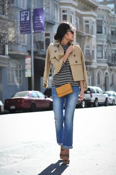 Stripes and short trench coat - tres chic! P.S. this picture makes me miss my gorgeous apartment life in San Francisco.