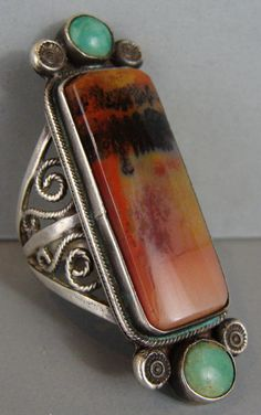 Large Rare UNUSUAL Early Vintage NAVAJO PETRIFIED WOOD Turquoise Ring Sz 7 3/4