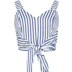 Striped Crop Top Sleeveless Tie-Front T-Shirt ($28) ❤ liked on Polyvore featuring tops, t-shirts, shirts, blue crop top, striped shirts, t shirt, summer t shirts and striped tee