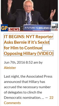 Idiot Liberal reporters...I'm not a Bernie supporter, but good Lord these Liberal reporters are race and gender baiters. Sanders was far too weak and let Clinton get what she wanted served on a gold platter http://www.thegatewaypundit.com/2016/06/nyt-reporter-asks-bernie-sexist-continue-opposing-hillary-video/