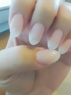 I love oval shaped nails.  Natural toned manicure.