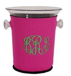 monogrammed acrylic ice bucket with koozie $45.99 @Marley Lilly