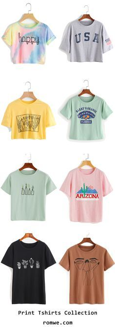 Summer Print T shirts with soft material and great price from romwe,com