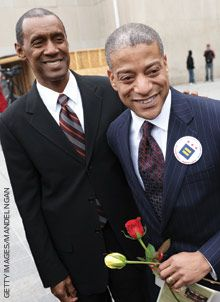 A Columbia University study found that in states where same-sex marriage is legal, gay men lead healthier lives and spend less on health care (especially costs related to mental health). Rocky Galloway (left) and Reggie Stanley in Washington, DC.