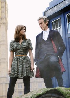 farewell-raggedy-man:  Peter Capaldi and Jenna Coleman attend a photocall at Parliament Square