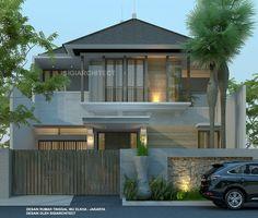 Desain Rumah Bali Modern Semi Basement Classic House Exterior, Classic House Design, Dream House Exterior, Modern House Design, House Arch Design, Village House Design, Home Building Design, Minimalis House Design, Modern Minimalist House