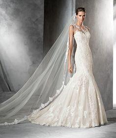 PLADIE - Vestido de novia de tul estilo sirena con talle bajo
