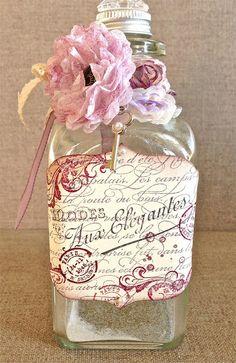 Altered Bottle Stampin' Up Style ! Bottle Box, Diy Bottle, Wine Bottle Crafts, Bottles And Jars, Glass Bottles, Perfume Bottles, Liquor Bottles, Clay Pot Crafts, Shell Crafts