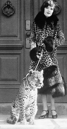 Starlet Marion Nixon with her pet leopard, Hollywood, 1925.