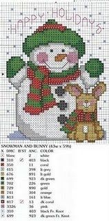 Punto de cruz: papa noel; Snowman with a bunny; they are so cute, and the chart has DMC color key.