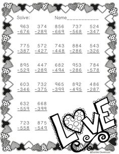 Free 3 Digit Subtraction Printable